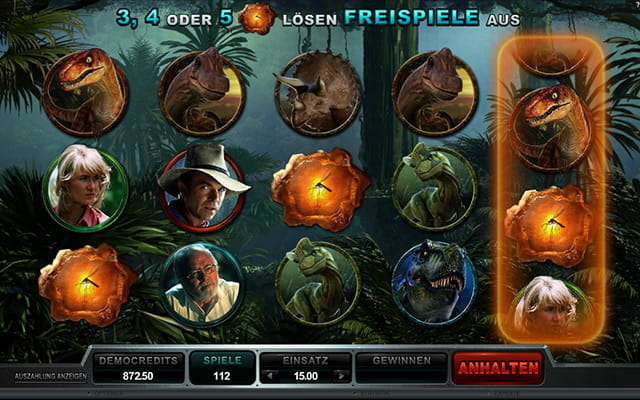 Hollywood Blockbuster Spielautomat Jurassic Park von Microgaming