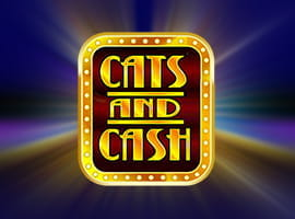 Cats and Cash slot game logo and demo prompt.