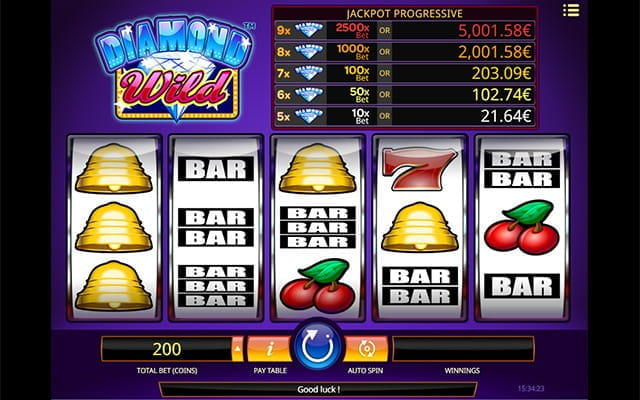 Five-tiered progressive jackpot game Diamond Wild, made by iSoftBet.