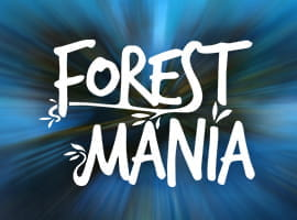 Forest Mania slot game logo and demo prompt.
