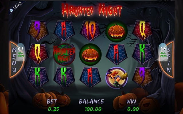 A preview of the Haunted Night video slot.