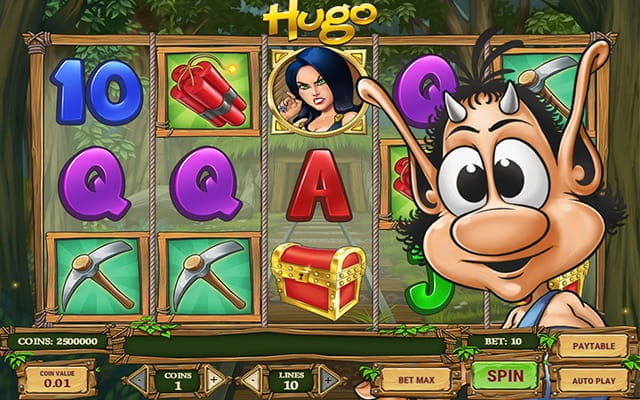 A preview of the Hugo video slot.