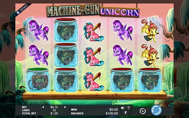 A preview of the slot game for Machine Gun Unicorn.