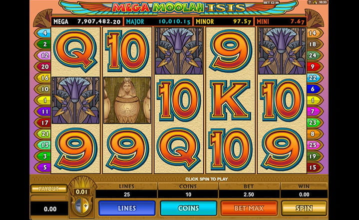 Mega Moolah Isis Slot Game by Microgaming