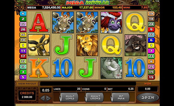 Mega Moolah Low-Stake Slot Game by Microgaming