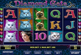 The mobile slot Diamond Cats
