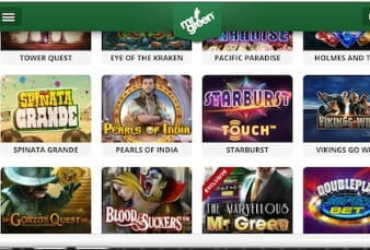 The Game Lobby of the Mr Green Mobile App