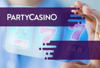 Slot imagery from PartyCasino along with a scanable QR code.