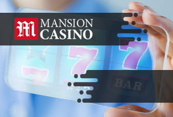 A mobile Mansion Casino slots lobby along with a scanable QR code