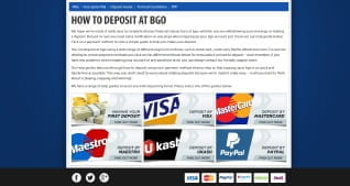 Overview of all accepted payment methods at BGO