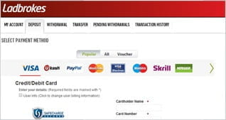 Wide Range of Payment Options at Ladbrokes