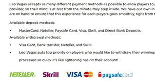 All Payment Methods at LeoVegas