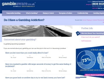 GambleAware Provides a Self-Assessment to Help Identify Issues with Problem Gambling