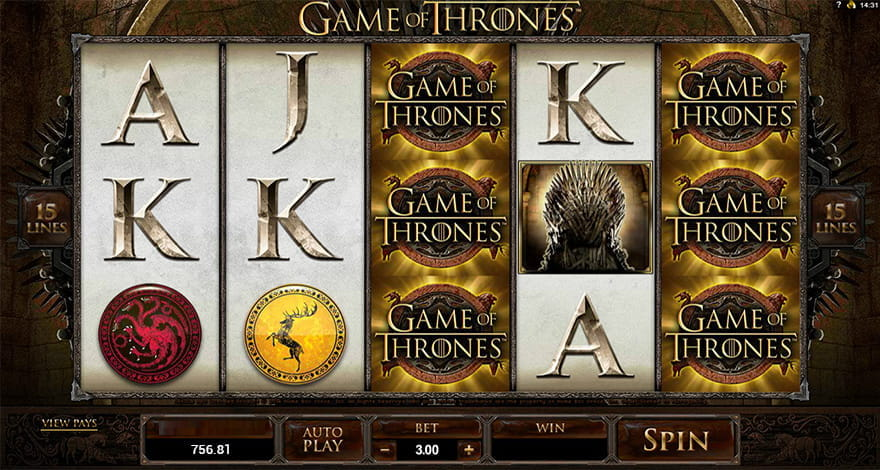 Microgaming's Game of Thrones Video Slot Appearance