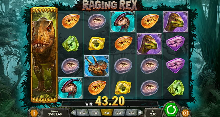 The newly slot Raging Rex by Play'n Go. The Wild Rex symbol brings a multiplier sum.