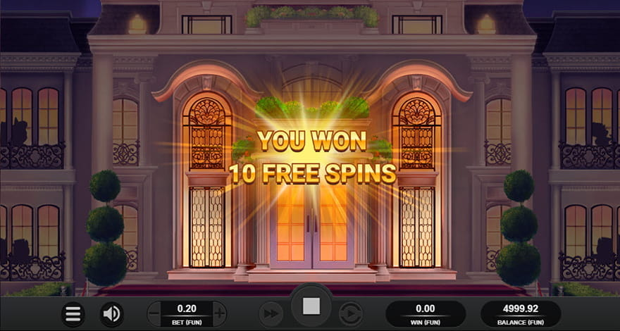 The Entrance to the Hamptons Estate. The Player Would Switch the Layout Design for a Festive One when They Are Awarded with 10 Free Spins.