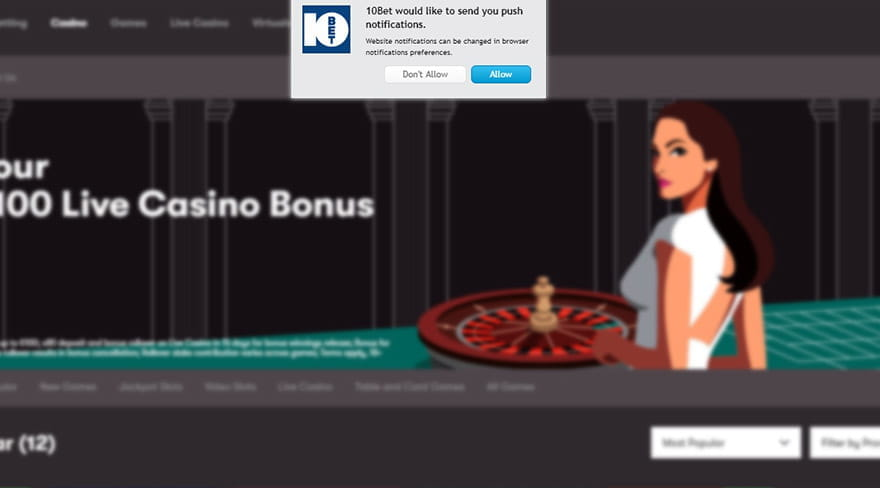 Pop-Up Windows at 10 Bet Casino to Confirm Receiving Cookies & Push Notifications