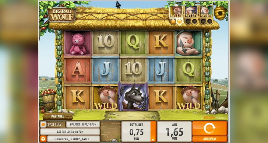 Beware the Big Bad Wolf Cartoon Slot Machine