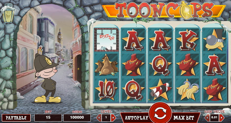 Spin the reels of Tooncops animated slot machine