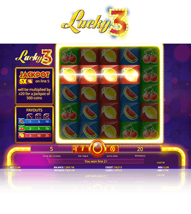 In-game view of Lucky 3 online slot