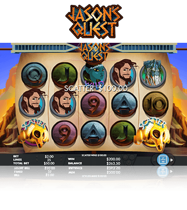 Jason's Quest slot game in-game view