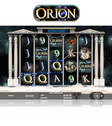 Orion slot game in action