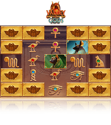 The Valley of the Gods online slot game in action.