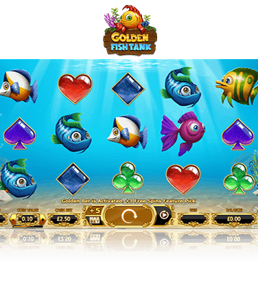 The Golden Fish Tank online slot game in action.