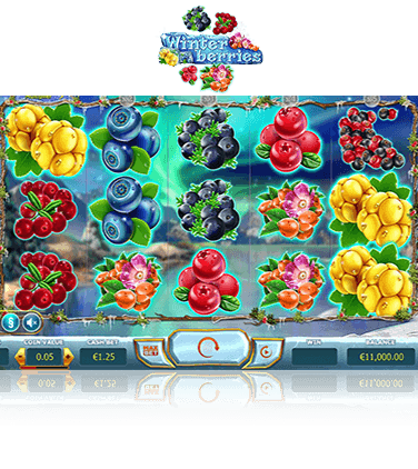 The Winterberries online slot game in action.