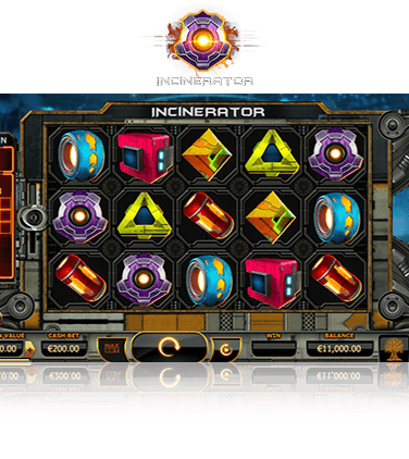 The Incinerator online slot game in action.