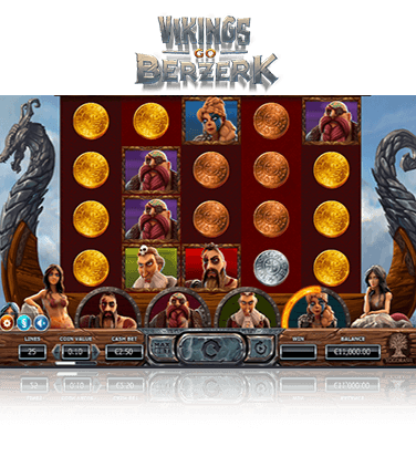The Vikings Go Berzerk slot game in play.