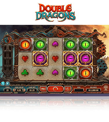 An in-game image of the Double Dragons slot game.