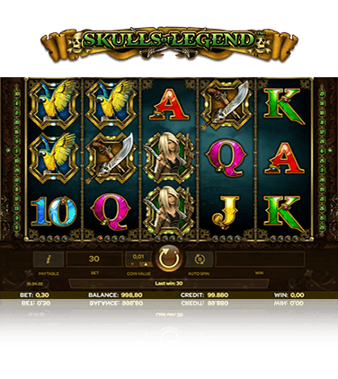 In-game action from Skulls of Legend slot