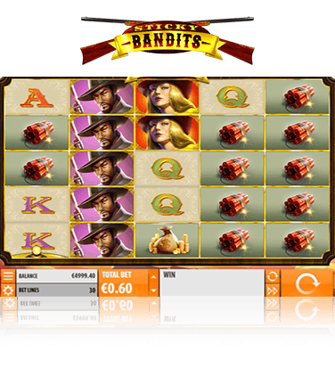 Sticky Bandits online slot game in action.