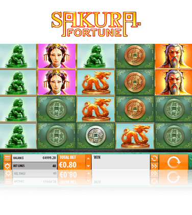 Sakura Fortune online slot game in action.