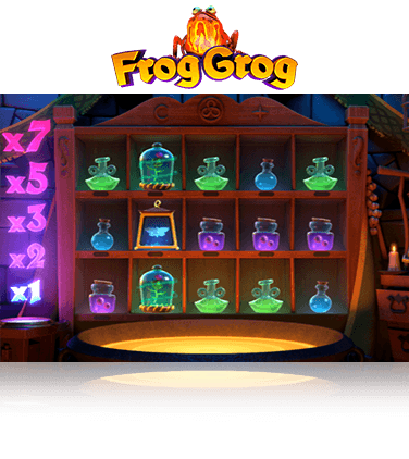 In-game view of Frog Grog slot