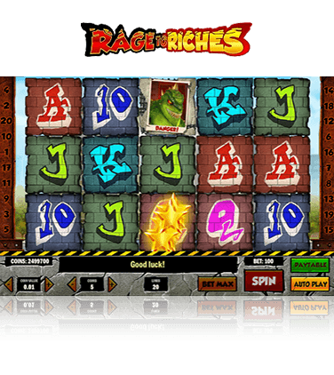In-game view of the Rage to Riches slot