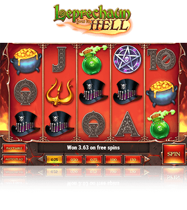 In-game view of Leprechaun Goes to Hell slot