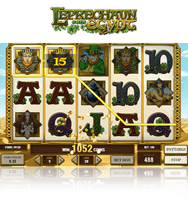 In-game view of Leprechaun Goes Egypt slot