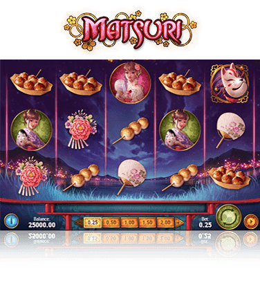 In-game view of the Matsuri slot