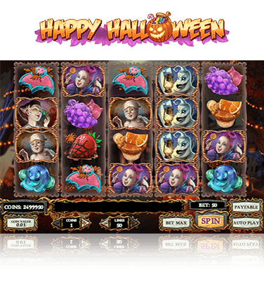 In-game view of the Happy Halloween slot