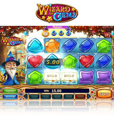 In-game view of Wizard of Gems slot